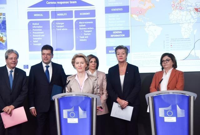 Bild: Europäische Kommission V.l.n.r., Paolo Gentiloni, Janez Lenarčič, Ursula von der Leyen, Stella Kyriakides, Ylva Johansson, Adina Vălean