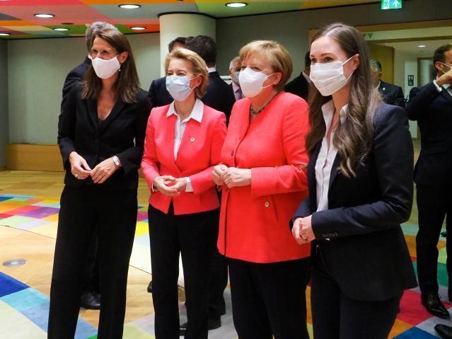 Bild: Europäische Union v.l.n.r. Sophie Wilmès, Ursula von der Leyen , Angela Merkel , Sanna Marin