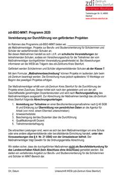 Vereinbarung geförderte Projekte