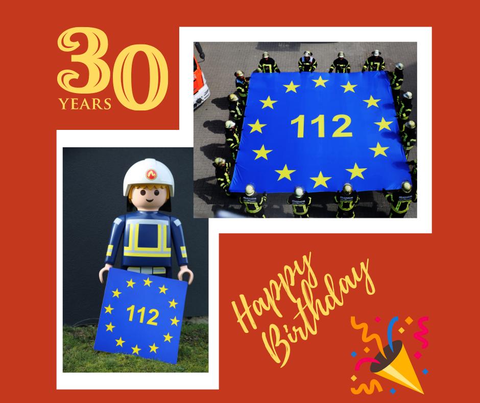 """Hätten Sie es gewusst? Die 112 im Sternenkranz der europäischen Flagge, ist ein gutes Symbol für den Euronotruf. Und so ganz nebenbei sieht man, dass es ein bei der EU-Flagge ein """"oben"""" und """"unten"""" gibt: Jeder einzelne der zwölf Sterne in der Flagge zeigt mit einer Spitze nach oben und zwei Spitzen müssen nach unten zeigen"""